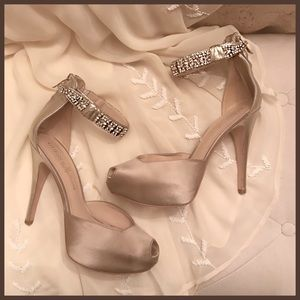 Guess by Marciano satin peep toe heels in size 8.5